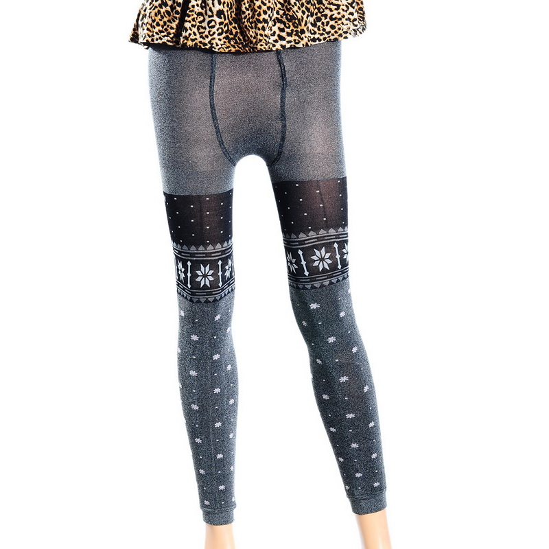 Gray With Snow Pattern Warm Pants Double Thicken Free Size 1PC Warm Winter Women Girl Leggings(China (Mainland))