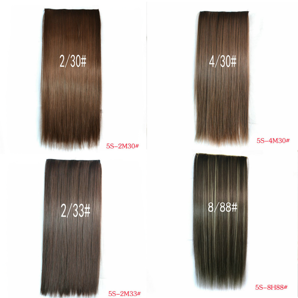 A piece of 5 Clips Heat Resistant Synthetic Clip in Hair Extensions Straight 23 60cm120g Mixed color Hairpiece False Hair<br><br>Aliexpress
