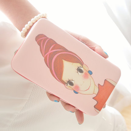 Cartoon doll box long women bag fashion purse wallets mobile phone bag Coin Purse women wallet(China (Mainland))