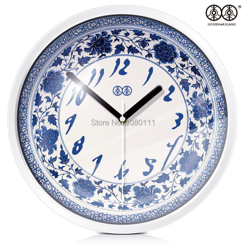 creative hanging clock/chinese style wall clock/blue and white porcelain clock/mute quartz clock for living room(China (Mainland))