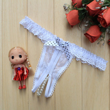 Hot sales Fashion Ladies Pearl Lace Panties G strings Bow knot Open Crotch Underwear
