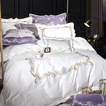 HOT Sale Luxury embroidery Double king queen 1/2/4pcs Bedding sets Duvet cover Flat sheet Pillowcase(China)