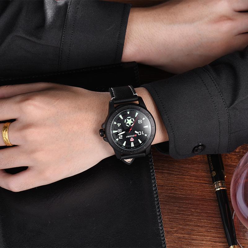 LONGBO Роскошные Мужчины Натуральная Кожа Часы Спортивные Кварцевые Часы Для Мужчин Мужской Досуг Часы Простые Часы Relogio Masculino 80217