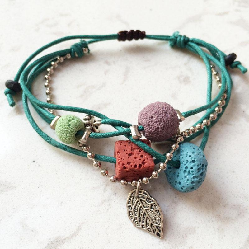 Lava Stone Beads Bracelet Hemp Rope Bracelets Bangles For Women Nature Stone Bracelet Strand Bracelets Handmade Jewelry(China (Mainland))