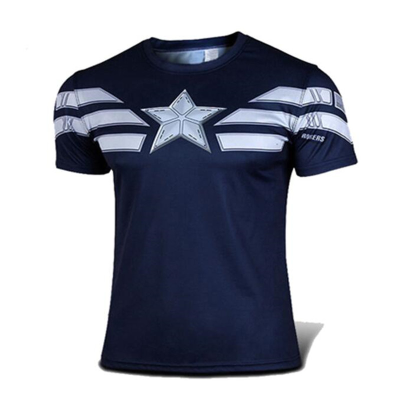 Free shipping 2016 new men's clothing captain America first avengers compressed T-shirt fashion leisure shirt with short sleeves(China (Mainland))