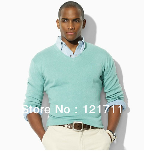 Mens sweater- men's v-neck sweater-long sleeves sweater polo stlye sweater(China (Mainland))