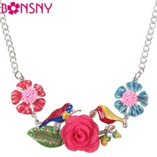 Buy Bonsny Statement Bird Necklace Flower Enamel Jewelry Alloy Long Chain Pendants 2016 New Women Charm Collares Accessories for $6.37 in AliExpress store