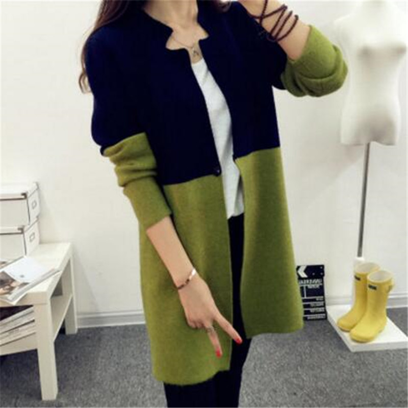 2016 Autumn Sweaters Women Retro Splicing Color Knit Cardigan Coat Women's Clothing Long Sleeve Sweaters Outerwear W75(China (Mainland))