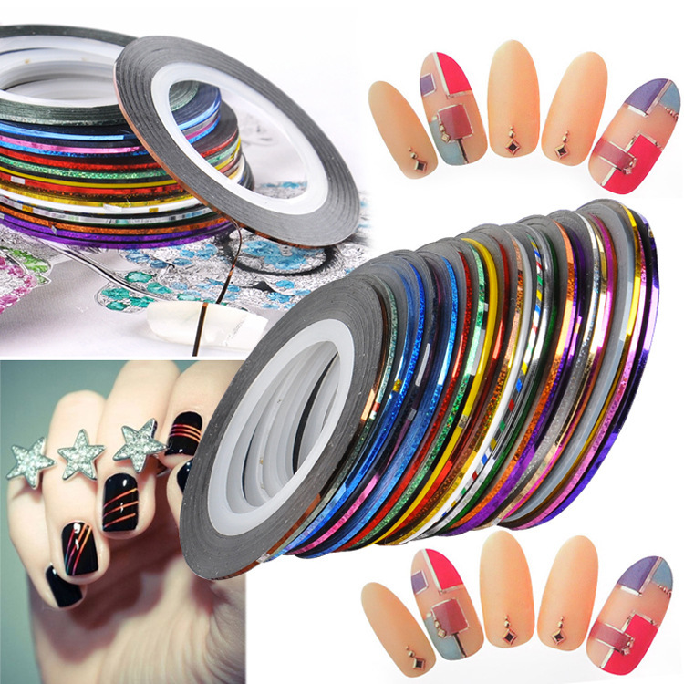 30 Colors Rolls Striping Tape Line Nail Art Sticker Tools Beauty Decorations for on Nail Stickers(China (Mainland))