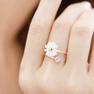 2013 new Fashing Jewelry Girl Daisy Flower Stone Silver Color wedding alloy Finger Ring ,retail ,drop shipping