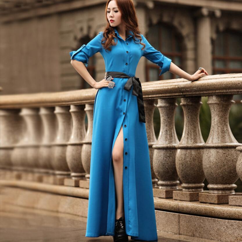European Summer New Fashion Women Dress Big yards Long sleeve Single-breasted Bohemian Dress Elegant Slim Ladies Dresses G1847Одежда и ак�е��уары<br><br><br>Aliexpress
