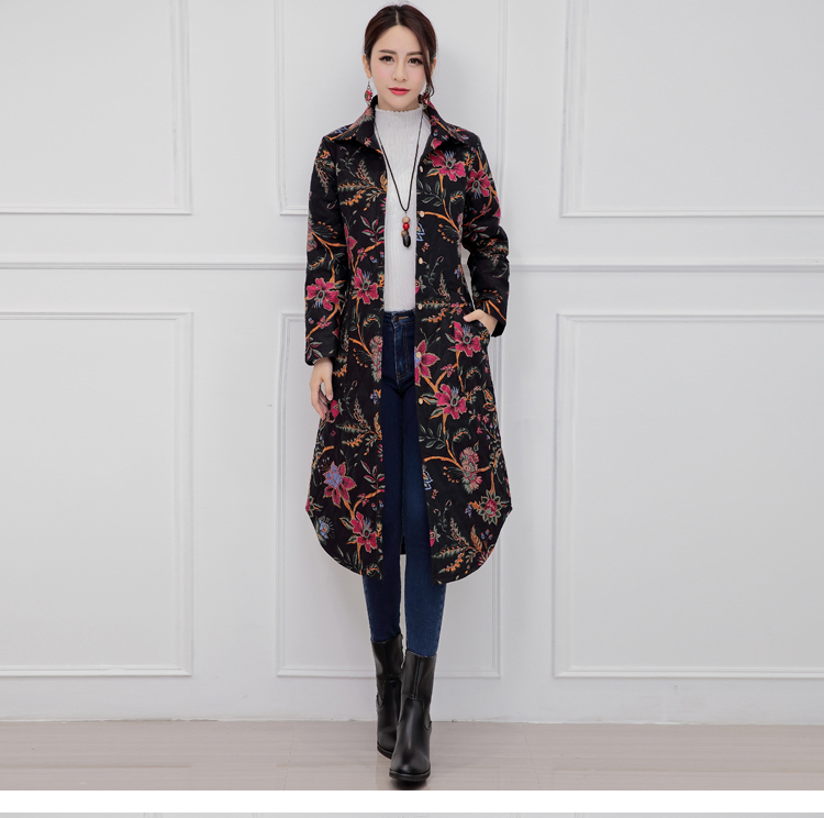 Four Flowers Print Warm Thick Cotton Padded Long Coat Autumn New Casual Slim Jacket Women Winter Casual Outerwear