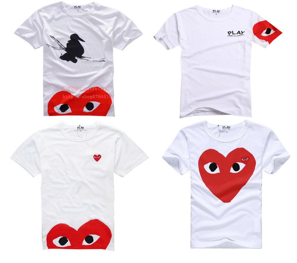 Nouveau 2015 jouer COMME Des garçons CDG jouer 2 coeurs motif manches courtes Tee T chemises 100% coton taille S - XL TYGHJ-25436(China (Mainland))