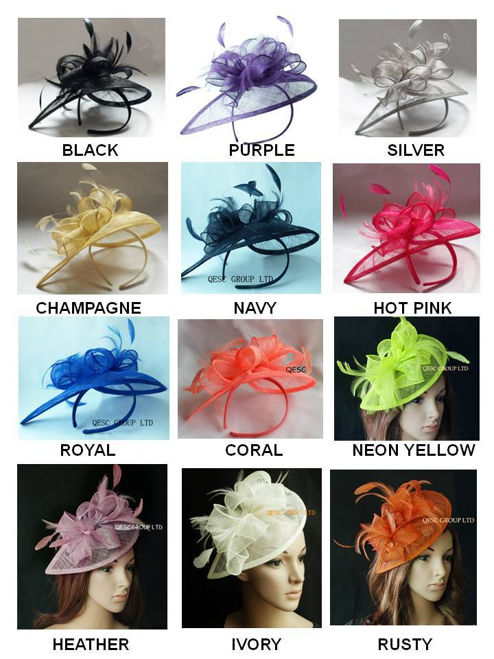 EMS FREE SHIPPING.HOT sinamay fascinator in SPECIAL shape with feathers, TOP grade workmanship,12 colors available(China (Mainland))