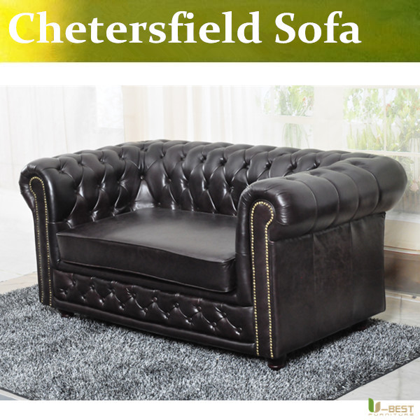 U-BEST high quality Chesterfield 2 seater Sofa,Designer chesterfield sofa, white leather loveseat sofa, living room furniture(China (Mainland))