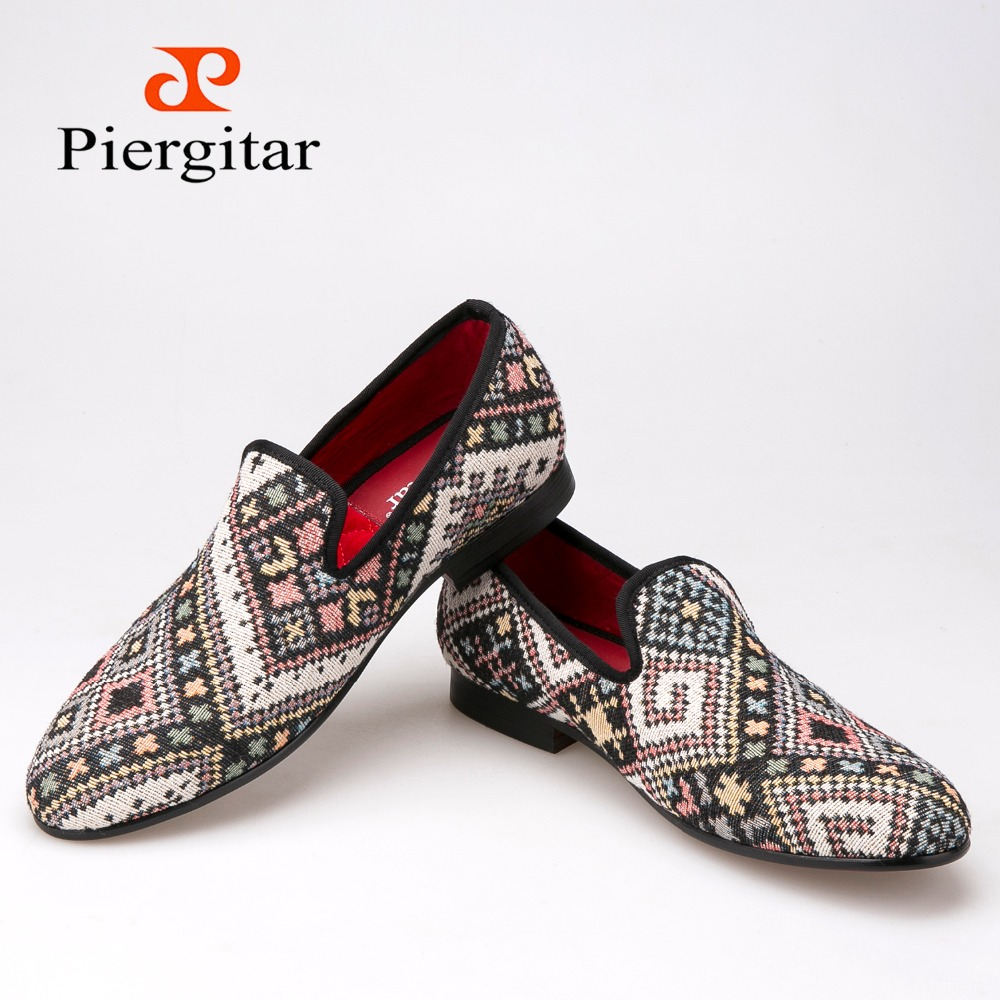 Piergitar new Mixed colors men loafers Ethnic style lattice men casual shoes smoking slipper mens flat size US6-14 freeshipping<br><br>Aliexpress