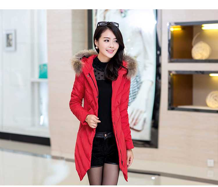 Фотография New Arrival Fashion Winter Warm Large Fur Hooded Collar Down Jackets Mid Long Slim Solid Irregularity Hem Women Down Coat H5273