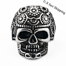 New Men's Gothic Skull Pattern Style Biker Stainless Steel Ring Size 8-11 Free Shipping