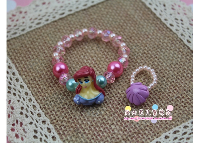 5 Sets /lot 5 Design Imitated crystal Bead Cute Ring Bracelet Party Gift Kid Children's Jewellery Set(China (Mainland))