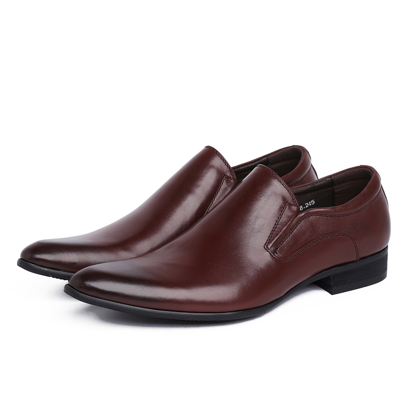 Фотография new top mens business dress brand design genuine full grain leather shoe men pointed toe casual fashion shoes ym111-8