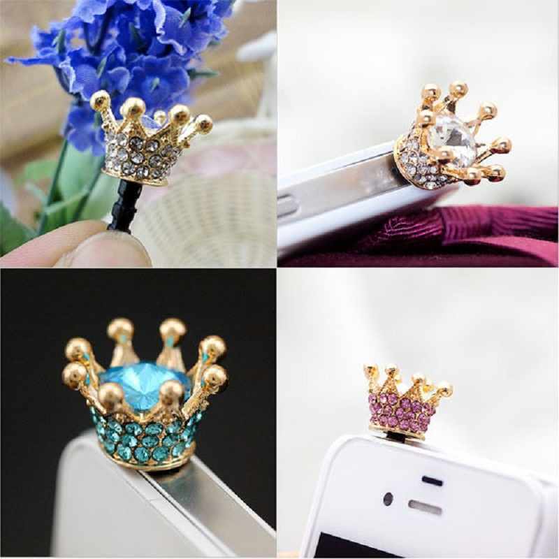 HOT SALE 3.5mm Crystal Rhinestones Cellphone Charms Earphone Audio Headphone Anti Jack Crown Dust Plug Phone(China (Mainland))