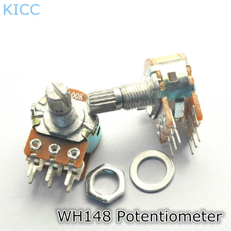 Гаджет  B1K WH148 15MM Double joint Power amplifier Potentiometer Horizontal 6Pin (5Pcs/Lot) Free Shipping None Электронные компоненты и материалы