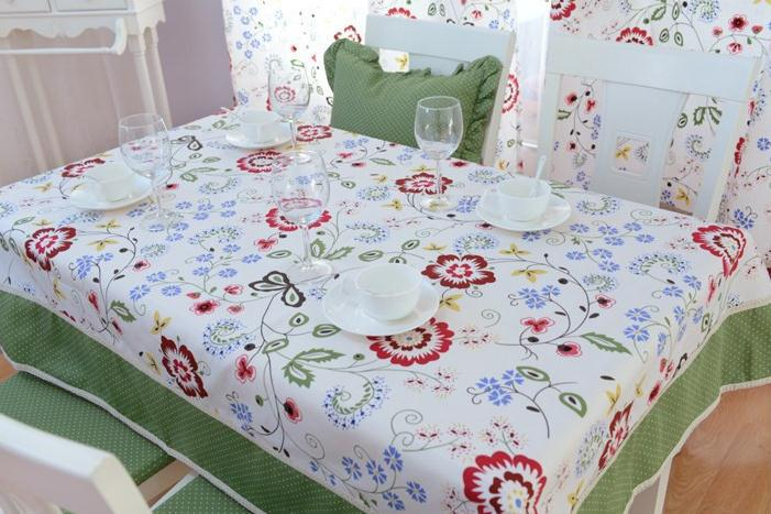 Elegant Red Peony Print Dining Table Set Modern Mint Green Table Cloths Fashion Little Polka Dot Table Cloth Lace Tablecloth(China (Mainland))