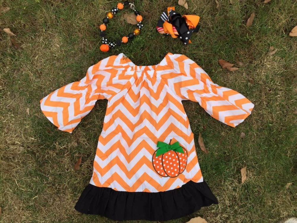 2015 new baby girls Halloween orange chevron pumpkin dress with matching hair bows and necklace set(China (Mainland))