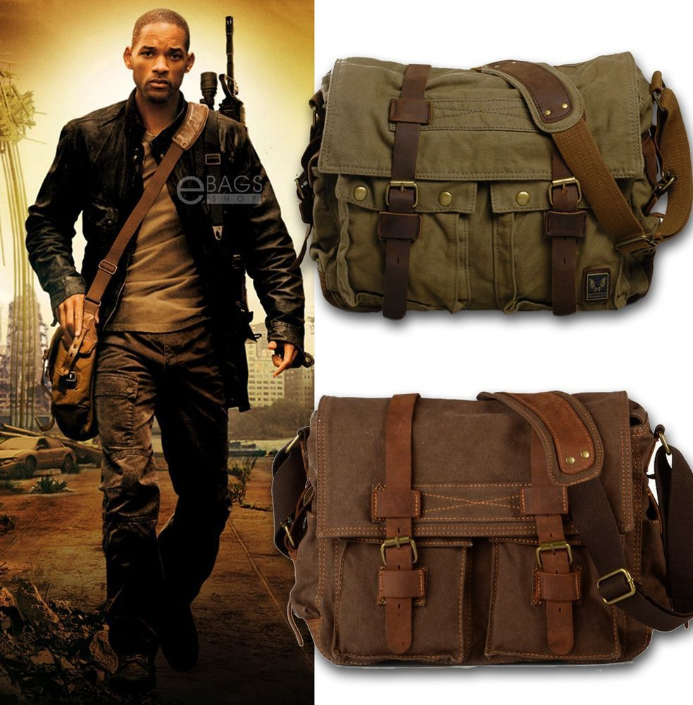 I AM LEGEND Will Smithe men messenger bags military army vintage canvas&genuine leather cross body bags 15'' laptop satchel bag(China (Mainland))