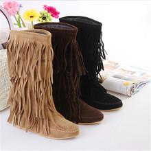 2016 new fashion Spring Autumn casual shoes princess sweet women boot stylish flat flock shoes fashion Mid-calf boots fringed(China (Mainland))