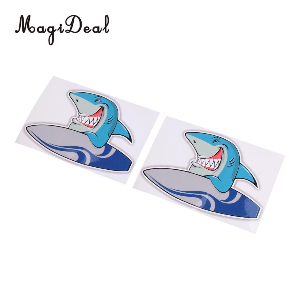 MagiDeal New Hot Sale 2Pcs Vinyl Surf Shark Sticker Decals for Kayak Canoe Dinghy Yatch Laptop Helmet Window Door Car Decoration