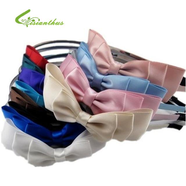 Wholesale 20pcs Mix Color Silk Satin Fabric Ribbon Bowknot Hairbands/Hair bands, Bow Headbands,Hair Accessories, Headwear TF010