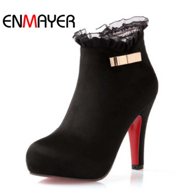 ENMAYER new 2014 women's matte leather ankle boots with side zipper crude / spring and autumn women's high heels BOOTS