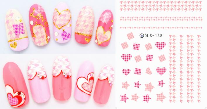 DLS131-140 DIY Water Transfer Foils Nail Art Sticker Fashion Nails Colorful Pink Manicure Decals Minx Cute Nail Decorations Tool(China (Mainland))