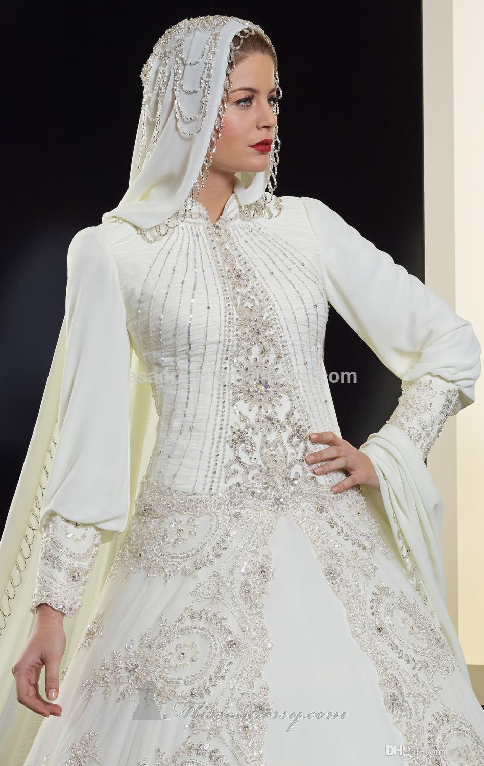 Elegant dubai newest design long sleeve beading organza for Cheap muslim wedding dresses