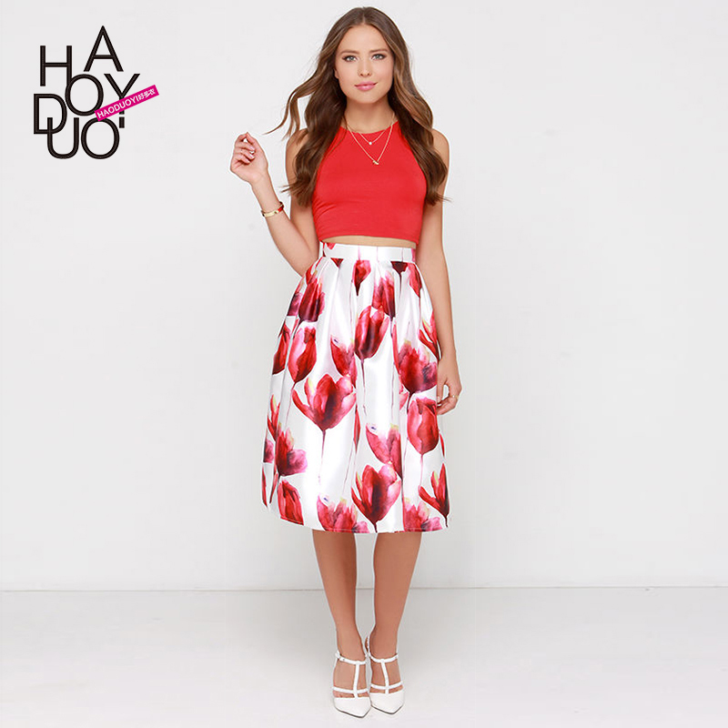 2015 Rushed Sale Polyester Skirts Crop Top And Skirt Set Retro Sweet Tulips Stamp Waist Fold Slim A Word Umbrella Skirt Haoduoyi(China (Mainland))