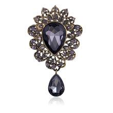 Water Drop Big Merek Perhiasan Big Red Kaca Tengah Kristal Rhinestones Bros Bouquet Bros Pin untuk Wanita Bouque Pernikahan Perhiasan(China)