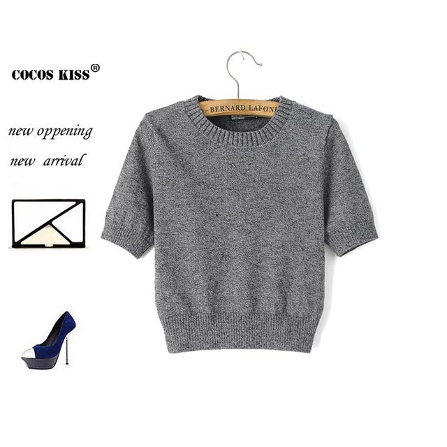 2015 новая весна и лето стили свитер с короткими рукавами о-образным шеи вязание ...