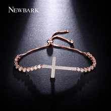 NEWBARK Trendy Round CZ Cross Design Beads Bracelets For Women Rose Gold Color Silver Color Box Chain Jewelry Gifts(China (Mainland))