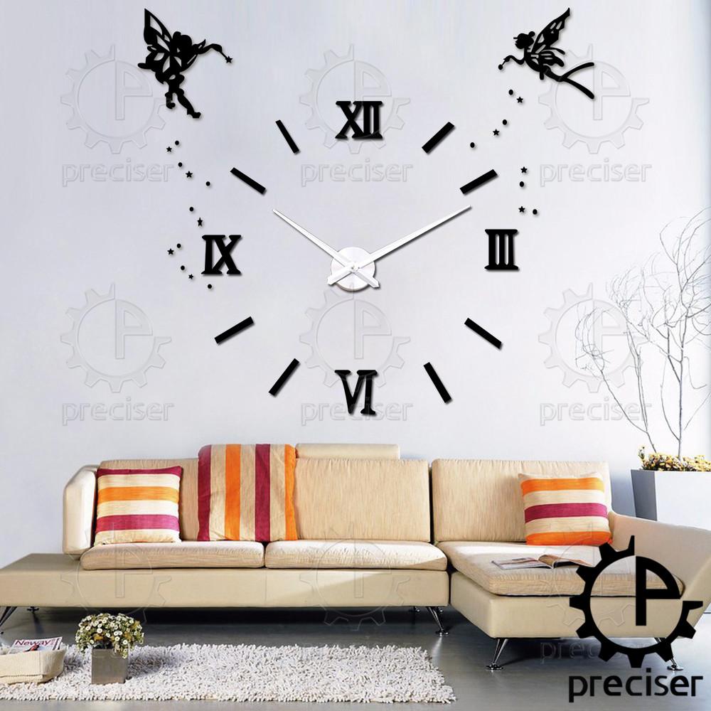 Angel Wings 3D Diy Large Wall Clock Modern Decorative Self-adhensive Mirror Wall Clock Quartz Retro Big Clock Home Decor(China (Mainland))