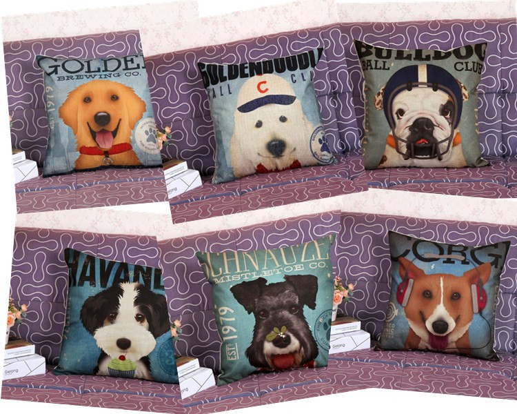 Home Decorative Bedding Cushion Cartoon Lovely Bulldog Pet Dog Printed Linen Cotton Pillow 45*45 Cm(China (Mainland))