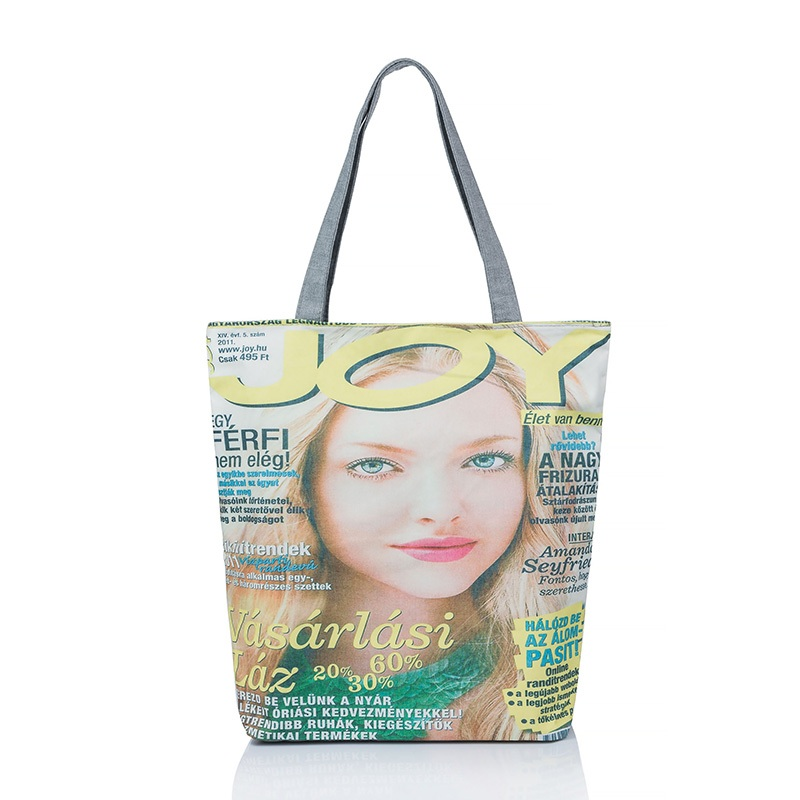 Fashion Women Magazine Print Reusable Canvas Eco Friendly Shopping Bag Grocery Tote Patchwork Shoulder Handbag Tote Bag(China (Mainland))