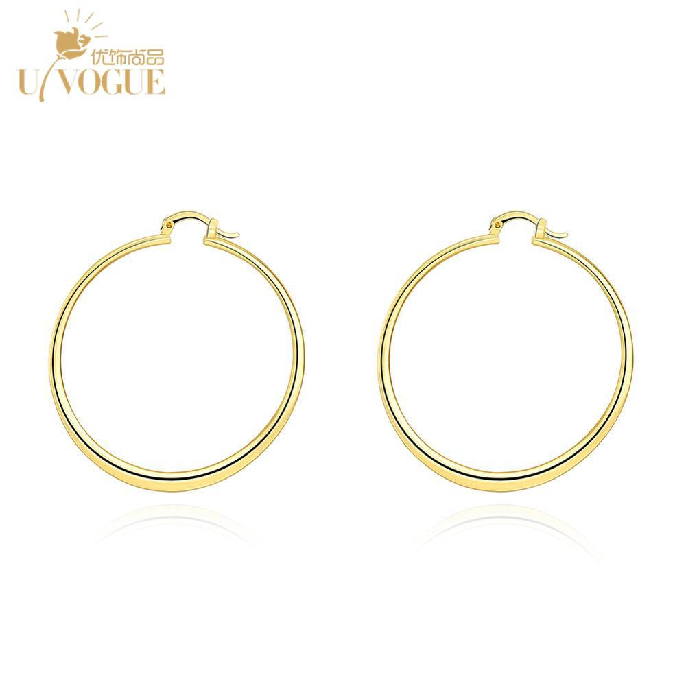 ufe066 real gold plated european hoop earrings for women. Black Bedroom Furniture Sets. Home Design Ideas
