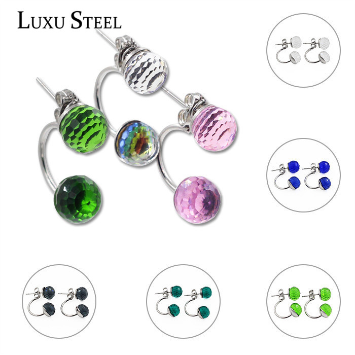 Stainless steel Double Side Earring Fashion Jewelry Shamballa Zircon Disco Ball Women Double stud Earrings Free shipping(China (Mainland))