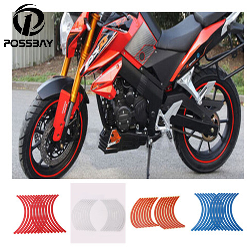 New 16pcs Strips Red/Orange/Blue/White Motorcycle Bike Wheel Tire Stickers Reflective Rim Tape Car Styling Sheet Sticker Tips(China (Mainland))