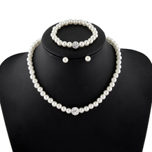 Fashion Imitation White Natural pearl Jewelry Sets Rhinestone Ball Necklace Earrings Bracelet Jewelry Sets for women(China (Mainland))