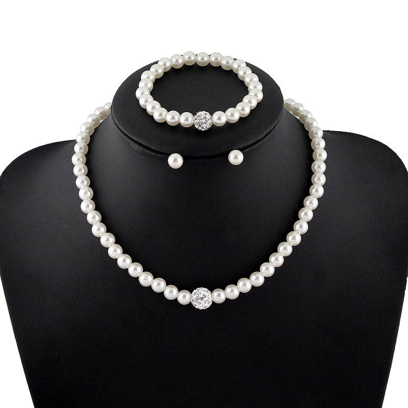 Fashion Imitation White Natural Freshwater pearl Jewelry Sets Rhinestone Ball Necklace Earrings Bracelet Jewelry Sets for women(China (Mainland))