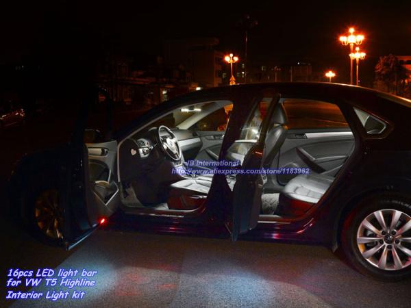 16pcsx parking interior led light bar kit xenon white for car vw t5 highline led for Interior car light laws california
