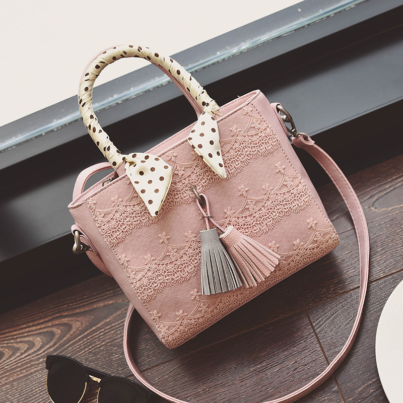 2016 New Arrival Lady Lace and Tassel Handbag Candy Color Small Tote Vintage Shoulder Bag R232(China (Mainland))