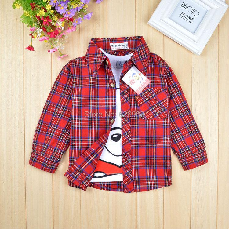 Little girls fashion 2014 cotton long sleeve blouses red black plaid kids boys shirts children red tops basic child clothing(China (Mainland))